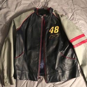 Jimmie Johnson ladies leather nascar jacket  # 48